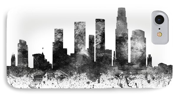 Los Angeles California Cityscape 02bw IPhone Case by Aged Pixel