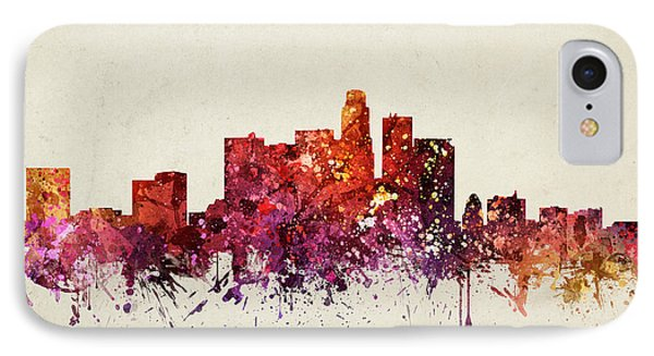 Los Angeles Cityscape 09 IPhone Case by Aged Pixel