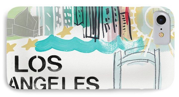 Los Angeles Cityscape- Art By Linda Woods IPhone Case by Linda Woods