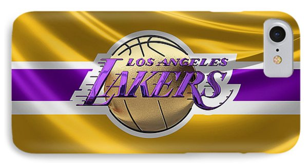 Los Angeles Lakers - 3 D Badge Over Flag IPhone Case by Serge Averbukh