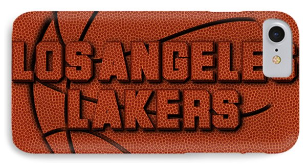 Los Angeles Lakers Leather Art IPhone Case by Joe Hamilton