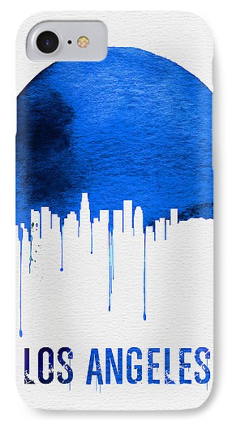 Los Angeles Skyline Blue IPhone 7 Case by Naxart Studio
