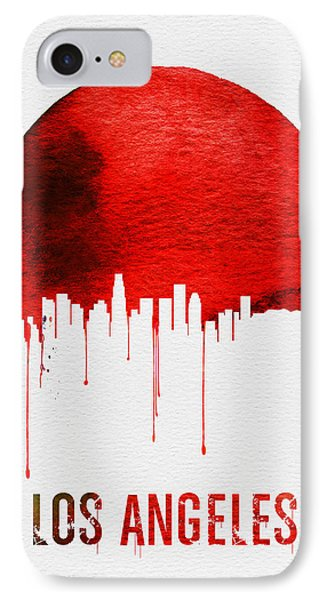Los Angeles Skyline Red IPhone 7 Case by Naxart Studio