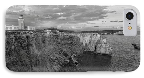 Los Morrillos Lighthouse In Black And White IPhone Case