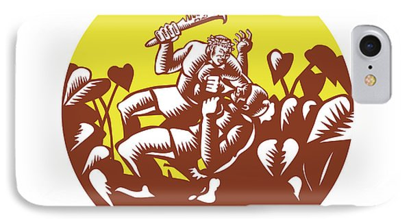 Losi Defeating God Circle Woodcut IPhone Case