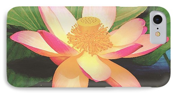 IPhone Case featuring the painting Lotus Flower by Sophia Schmierer