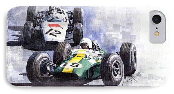 Lotus Vs Honda Mexican Gp 1965 IPhone Case by Yuriy  Shevchuk