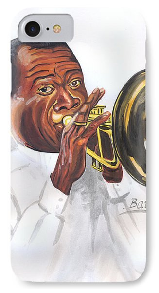 IPhone Case featuring the painting Louis Armstrong by Emmanuel Baliyanga