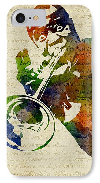 Louis Armstrong Watercolor IPhone Case by Mihaela Pater