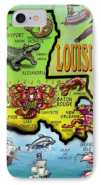 Louisiana Cartoon Map Phone Case by Kevin Middleton