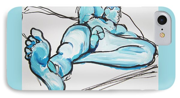 IPhone Case featuring the painting Lounging In Blue by Shungaboy X