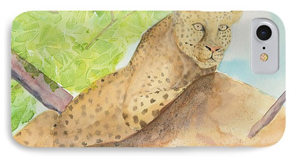 IPhone Case featuring the painting Lounging Leopard by Vicki  Housel