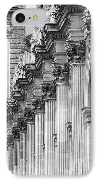 IPhone 7 Case featuring the photograph Louvre Pillars, Paris, 2015 by Hitendra SINKAR