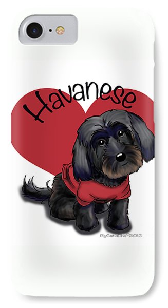 Lovable Black Havanese IPhone Case by Catia Cho