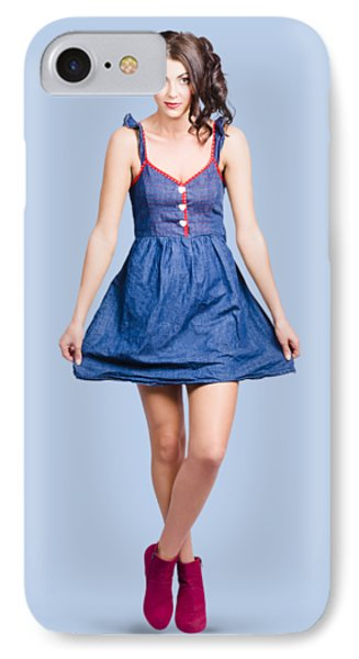 Lovable Eighties Female Pin-up In Denim Dress IPhone Case by Jorgo Photography - Wall Art Gallery