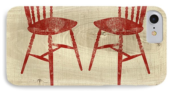 Love Always Red Chairs- Art By Linda Woods IPhone Case by Linda Woods