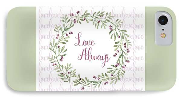 Love Always Wreath Pink And Green Square IPhone Case