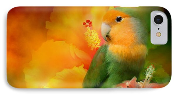 Lovebird iPhone 7 Case - Love Among The Hibiscus by Carol Cavalaris