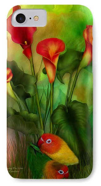 Lovebird iPhone 7 Case - Love Among The Lilies  by Carol Cavalaris