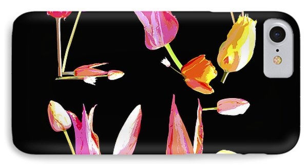 Love Flower Power  Art On Black IPhone Case by WALL ART and HOME DECOR