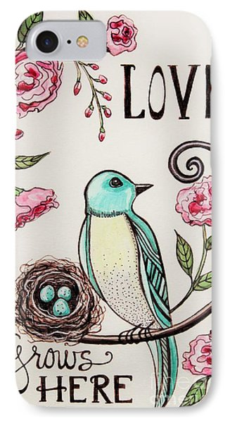 Love Grows Here IPhone Case by Elizabeth Robinette Tyndall