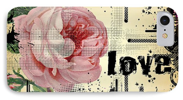 IPhone Case featuring the digital art Love Grunge Rose by Robert G Kernodle