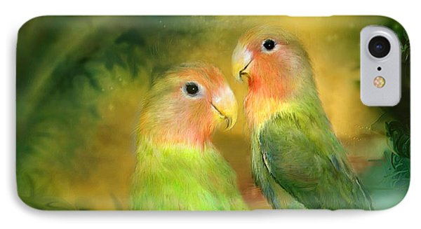 Love In The Golden Mist IPhone Case by Carol Cavalaris
