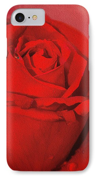 Love Is A Red Rose With Raindrops IPhone Case by Diane Schuster