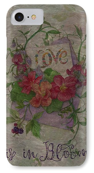 IPhone Case featuring the painting Love Is In Bloom Botanical by Judith Cheng