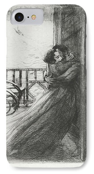 IPhone Case featuring the drawing Love - La Femme Series by Paul-Albert Besnard