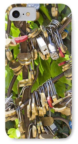 IPhone Case featuring the photograph Love Locks Square by Chris Dutton