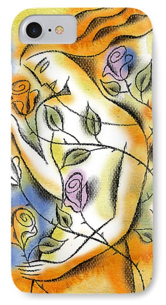 IPhone Case featuring the painting Love, Roses And Thorns by Leon Zernitsky