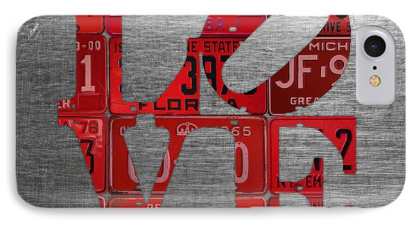 Love Sign Philadelphia Recycled Red Vintage License Plates On Aluminum Sheet IPhone Case