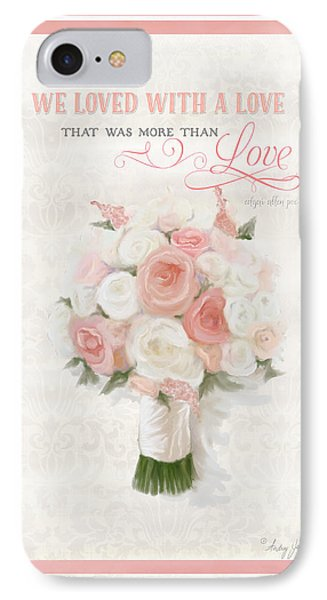 Love Typography Bridal Bouquet Damask Lace Coral Peach Blush IPhone Case by Audrey Jeanne Roberts