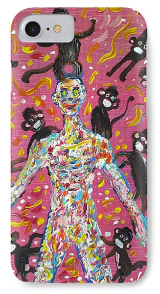 IPhone Case featuring the painting Loved By The Monkeys by Fabrizio Cassetta