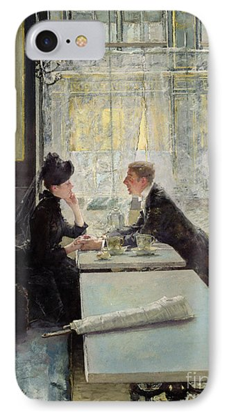Lovers In A Cafe IPhone Case by Gotthardt Johann Kuehl