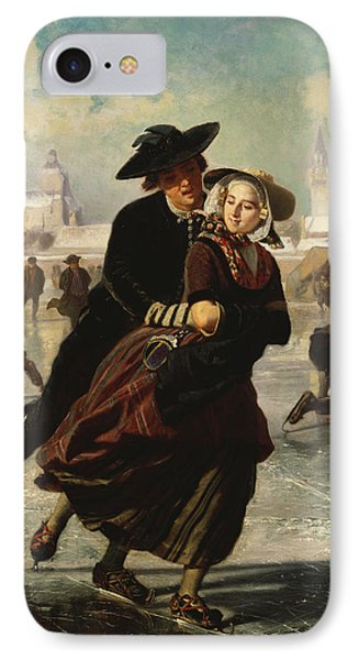 Lovers Skating IPhone Case by Adolf Alexander Dillens