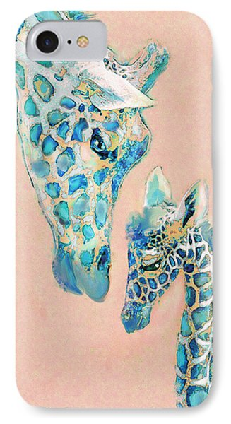 IPhone Case featuring the digital art Loving Giraffes Family- Coral by Jane Schnetlage