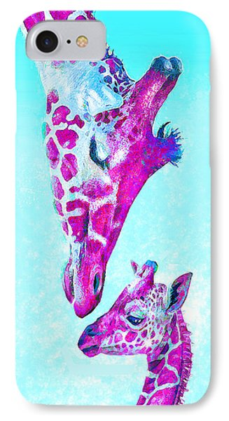 IPhone Case featuring the digital art Loving Giraffes- Magenta by Jane Schnetlage
