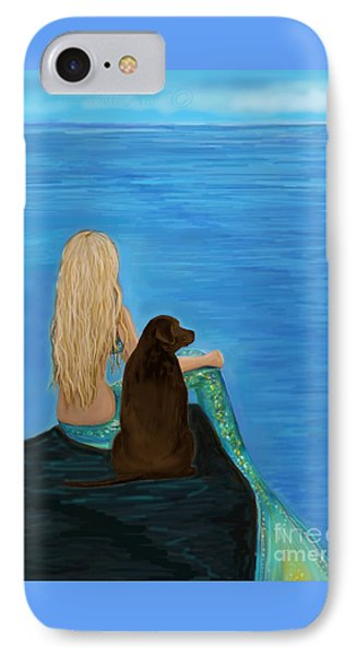 IPhone Case featuring the painting Loving Lab Loyalty by Leslie Allen