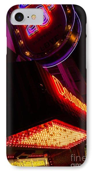 IPhone Case featuring the photograph Low Angle Neon Signs At Night In North Beach San Francisco by Jason Rosette