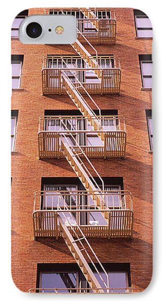 Low Angle View Of Fire Escape Ladders IPhone Case by Panoramic Images