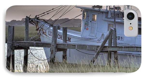 Lowcountry Shrimp Boat Sunset IPhone Case by Dustin K Ryan