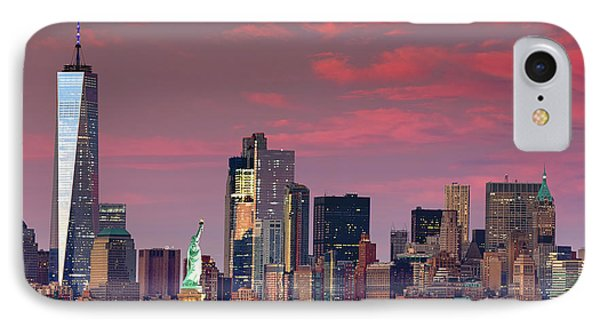 IPhone Case featuring the photograph Lower Manhattan In Pink by Emmanuel Panagiotakis