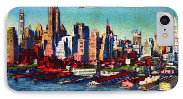 Lower Manhattan Skyline New York City Phone Case by Vincent Monozlay