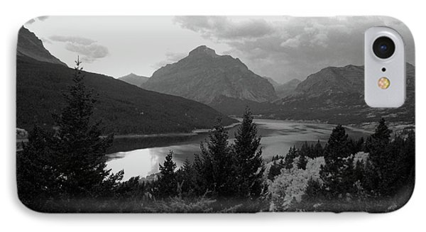 Lower Two Medicine Lake In Black And White IPhone Case