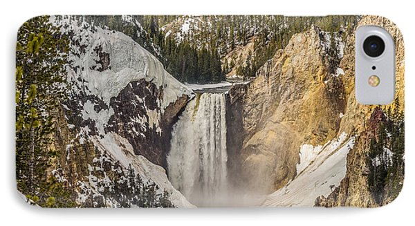 IPhone Case featuring the photograph Lower Yellowstone Falls In Winter by Yeates Photography
