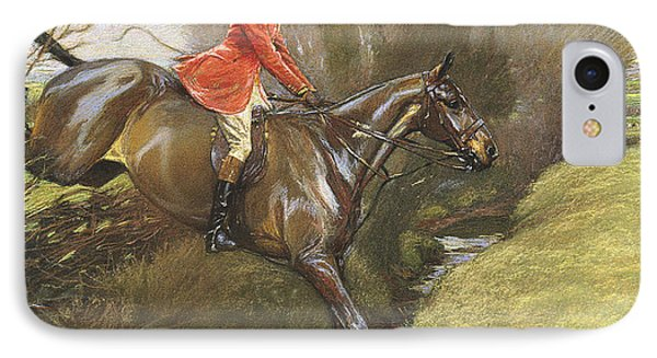 Lt Col Ted Lyon Jumping A Hedge IPhone Case by Cecil Charles Windsor Aldin