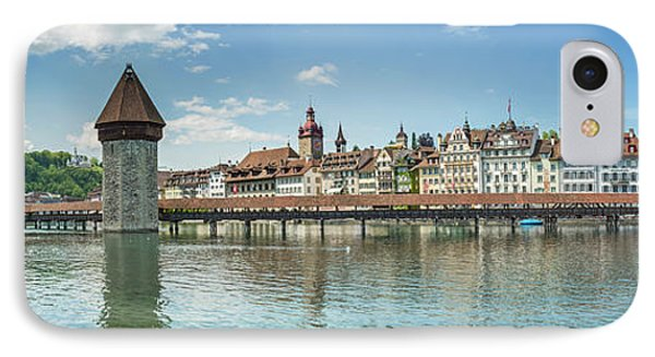Lucerne Chapel Bridge And Water Tower - Panoramic IPhone Case by Melanie Viola