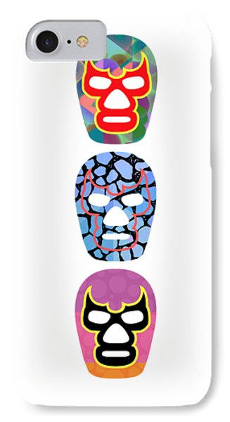 Lucha Libre Mexican Professional Wrestling Totem IPhone Case by Edward Fielding
